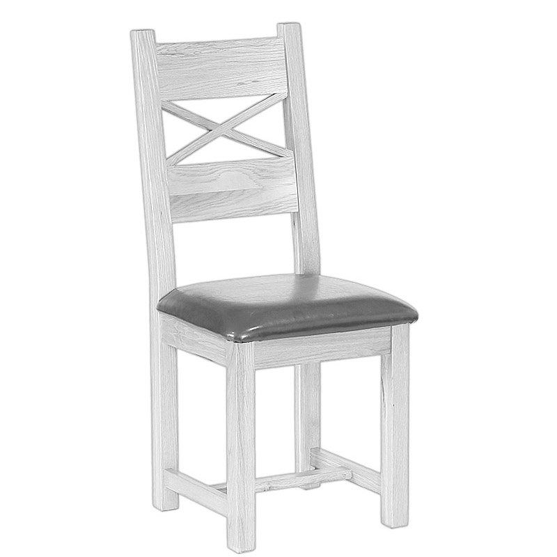 Cross Back Dining Chair with Leather Seat